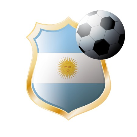 illustration - abstract soccer theme - shiny metal shield isolated on white background with flag of Argentina illustration