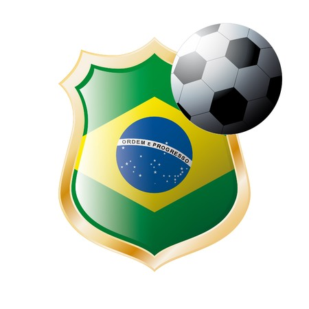 illustration - abstract soccer theme - shiny metal shield isolated on white background with flag of Brazil illustration