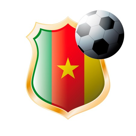illustration - abstract soccer theme - shiny metal shield isolated on white background with flag of Cameroon illustration