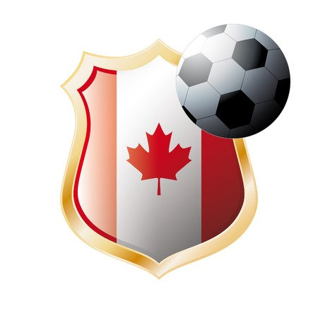 illustration - abstract soccer theme - shiny metal shield isolated on white background with flag of Canada Stock Illustration - 7117362
