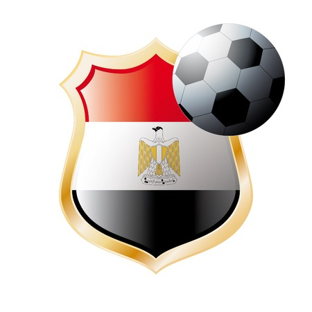 illustration - abstract soccer theme - shiny metal shield isolated on white background with flag of Egypt illustration