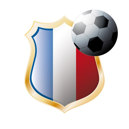 illustration - abstract soccer theme - shiny metal shield isolated on white background with flag of France illustration