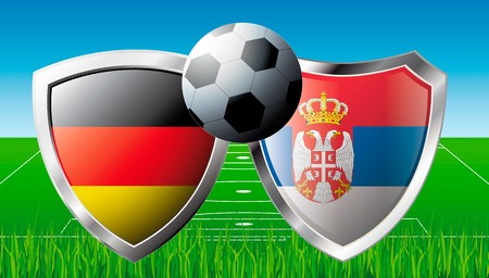 Soccer match in South Africa 2010. Shiny football shield of national flag. Abstract illustration vector on colorful background with grass. illustration