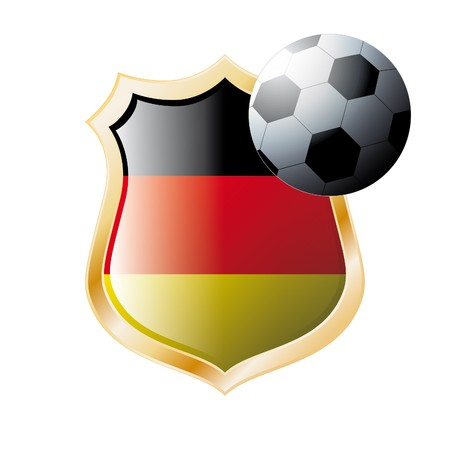 illustration - abstract soccer theme - shiny metal shield isolated on white background with flag of Germany illustration