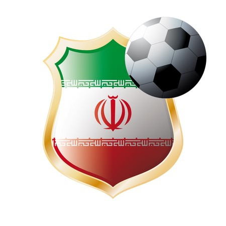 illustration - abstract soccer theme - shiny metal shield isolated on white background with flag of Iran illustration