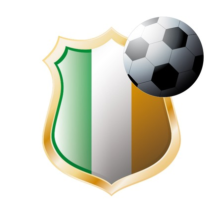 illustration - abstract soccer theme - shiny metal shield isolated on white background with flag of Ireland illustration