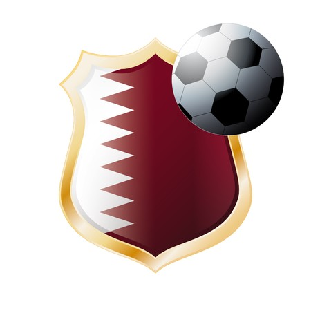 illustration - abstract soccer theme - shiny metal shield isolated on white background with flag of Qatar Stock Illustration - 7117266