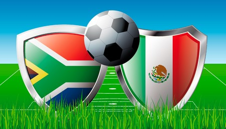 Soccer match in South Africa 2010. Shiny football shield of national flag. Abstract illustration on colorful background with grass. illustration