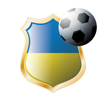 illustration - abstract soccer theme - shiny metal shield isolated on white background with flag of Ukraine illustration