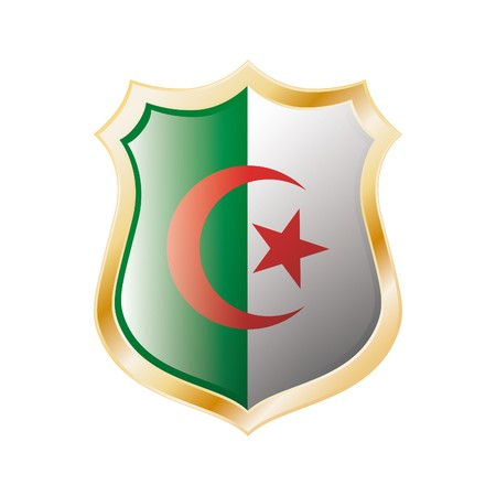 Algeria flag on metal shiny shield illustration. Collection of flags on shield against white background. Abstract isolated object. Stock Illustration - 7117702