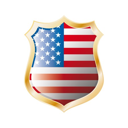America USA flag on metal shiny shield  illustration. Collection of flags on shield against white background. Abstract isolated object. Stock Illustration - 7117719
