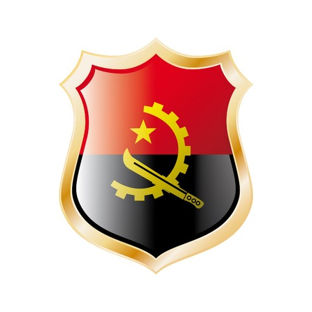 Angola flag on metal shiny shield  illustration. Collection of flags on shield against white background. Abstract isolated object. Stock Illustration - 7117718