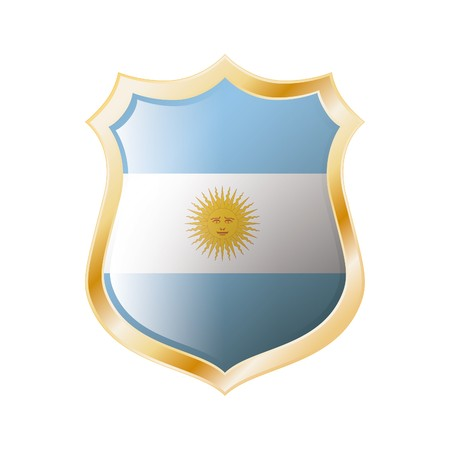 Argentina flag on metal shiny shield  illustration. Collection of flags on shield against white background. Abstract isolated object. Stock Illustration - 7117705