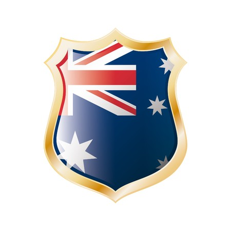 Australia flag on metal shiny shield  illustration. Collection of flags on shield against white background. Abstract isolated object. Stock Illustration - 7117709