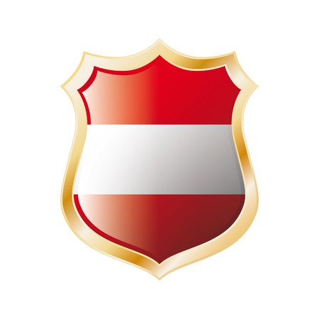 Austria flag on metal shiny shield  illustration. Collection of flags on shield against white background. Abstract isolated object. illustration
