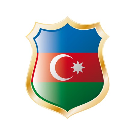 Azerbaijan flag on metal shiny shield  illustration. Collection of flags on shield against white background. Abstract isolated object. illustration