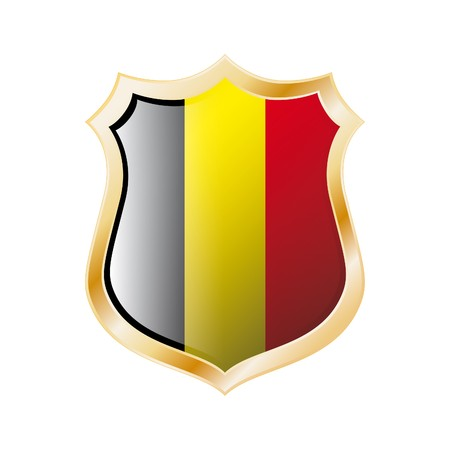 Belgium flag on metal shiny shield  illustration. Collection of flags on shield against white background. Abstract isolated object. illustration