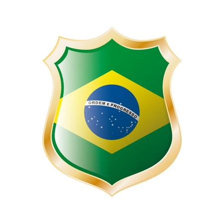 Brazil flag on metal shiny shield  illustration. Collection of flags on shield against white background. Abstract isolated object. Stock Illustration - 7117712