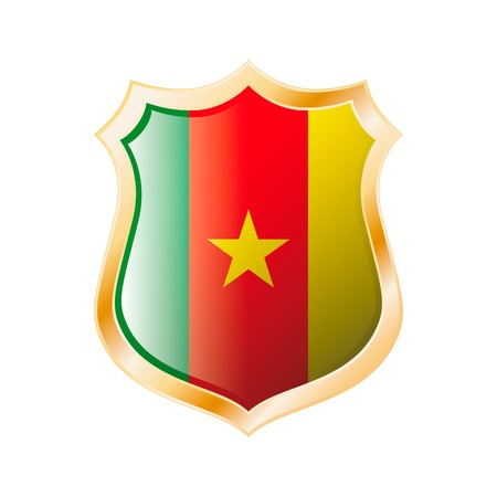 Cameroon flag on metal shiny shield  illustration. Collection of flags on shield against white background. Abstract isolated object. illustration