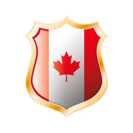 Canada flag on metal shiny shield  illustration. Collection of flags on shield against white background. Abstract isolated object. Stock Illustration - 7117633