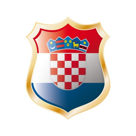 Croatia flag on metal shiny shield illustration. Collection of flags on shield against white background. Abstract isolated object. Stock Illustration - 7117724