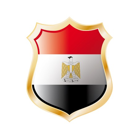 Egypt flag on metal shiny shield  illustration. Collection of flags on shield against white background. Abstract isolated object. Stock Illustration - 7117713
