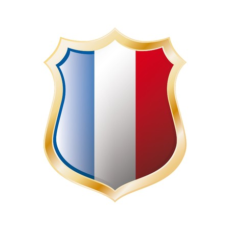 France flag on metal shiny shield  illustration. Collection of flags on shield against white background. Abstract isolated object. illustration