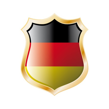 Germany flag on metal shiny shield  illustration. Collection of flags on shield against white background. Abstract isolated object. illustration
