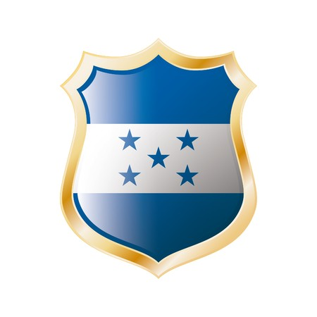 Honduras flag on metal shiny shield  illustration. Collection of flags on shield against white background. Abstract isolated object. illustration