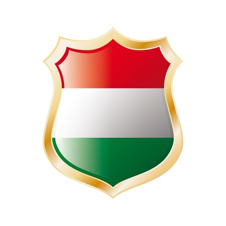 Hungary flag on metal shiny shield  illustration. Collection of flags on shield against white background. Abstract isolated object. Stock Illustration - 7117592