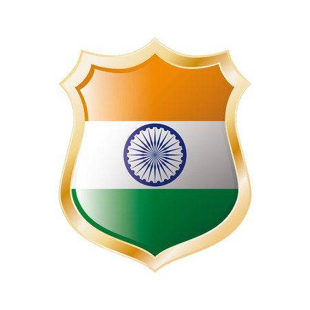 India flag on metal shiny shield  illustration. Collection of flags on shield against white background. Abstract isolated object. Stock Illustration - 7117720