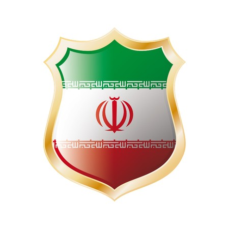 iran: Iran flag on metal shiny shield  illustration. Collection of flags on shield against white background. Abstract isolated object.