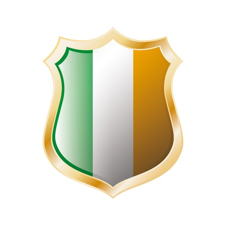 Ireland flag on metal shiny shield  illustration. Collection of flags on shield against white background. Abstract isolated object. Stock Illustration - 7117602