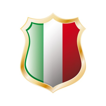 Italy flag on metal shiny shield  illustration. Collection of flags on shield against white background. Abstract isolated object. illustration