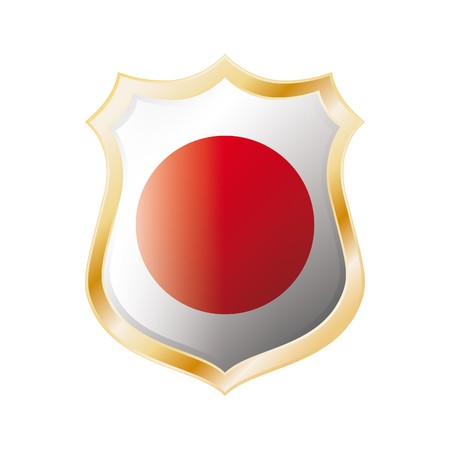 Japan flag on metal shiny shield vector illustration. Collection of flags on shield against white background. Abstract isolated object. illustration