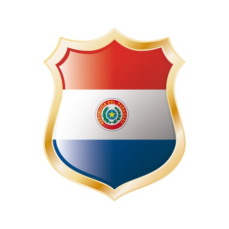Paraguay flag on metal shiny shield  illustration. Collection of flags on shield against white background. Abstract isolated object. Stock Illustration - 7117710