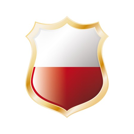 Poland flag on metal shiny shield vector illustration. Collection of flags on shield against white background. Abstract isolated object. illustration