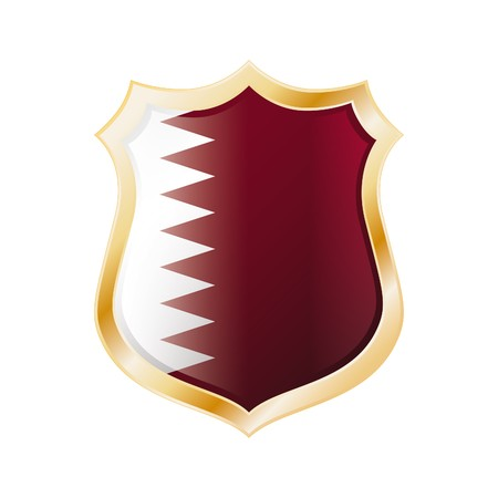 Qatar flag on metal shiny shield  illustration. Collection of flags on shield against white background. Abstract isolated object. Stock Illustration - 7117588