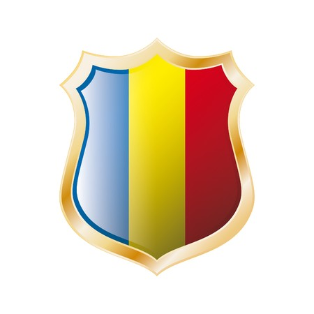 Romania flag on metal shiny shield  illustration. Collection of flags on shield against white background. Abstract isolated object. illustration