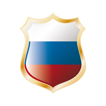 Russia flag on metal shiny shield vector illustration. Collection of flags on shield against white background. Abstract isolated object. illustration