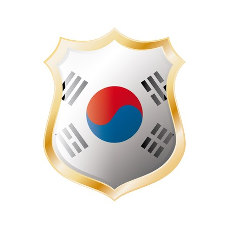 South Korea flag on metal shiny shield  illustration. Collection of flags on shield against white background. Abstract isolated object. illustration