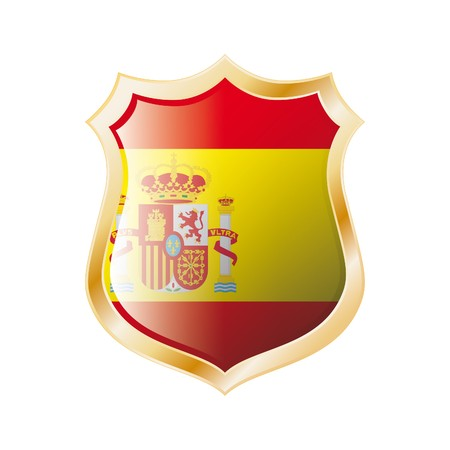 Spain flag on metal shiny shield  illustration. Collection of flags on shield against white background. Abstract isolated object. illustration