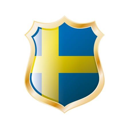Sweden flag on metal shiny shield  illustration. Collection of flags on shield against white background. Abstract isolated object. illustration