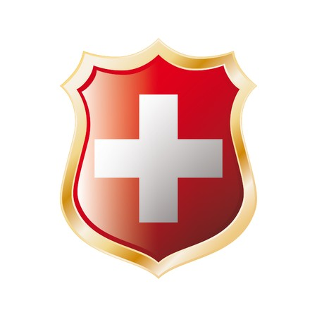 swiss: Swiss flag on metal shiny shield  illustration. Collection of flags on shield against white background. Abstract isolated object.