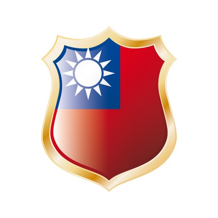 Taiwan flag on metal shiny shield  illustration. Collection of flags on shield against white background. Abstract isolated object. Stock Illustration - 7117703