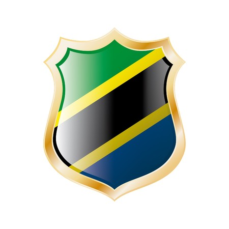 Tanzania flag on metal shiny shield  illustration. Collection of flags on shield against white background. Abstract isolated object. Stock Illustration - 7117707