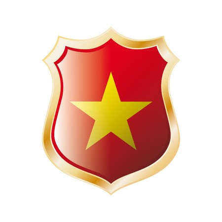 Vietnam flag on metal shiny shield illustration. Collection of flags on shield against white background. Abstract isolated object. illustration