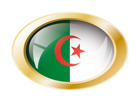 Algeria shiny button flag with golden ring illustration. Isolated abstract object against white background. Stock Illustration - 7161302