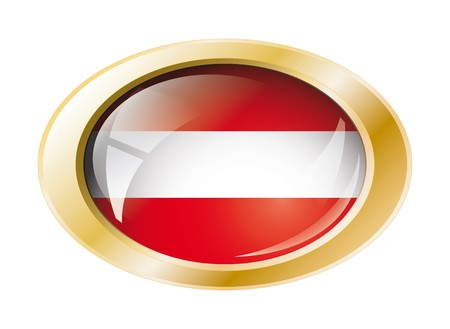 Austria shiny button flag with golden ring illustration. Isolated abstract object against white background. illustration