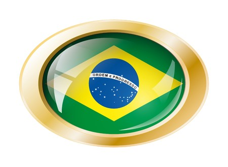 Brazil shiny button flag with golden ring illustration. Isolated abstract object against white background. Stock Illustration - 7161406